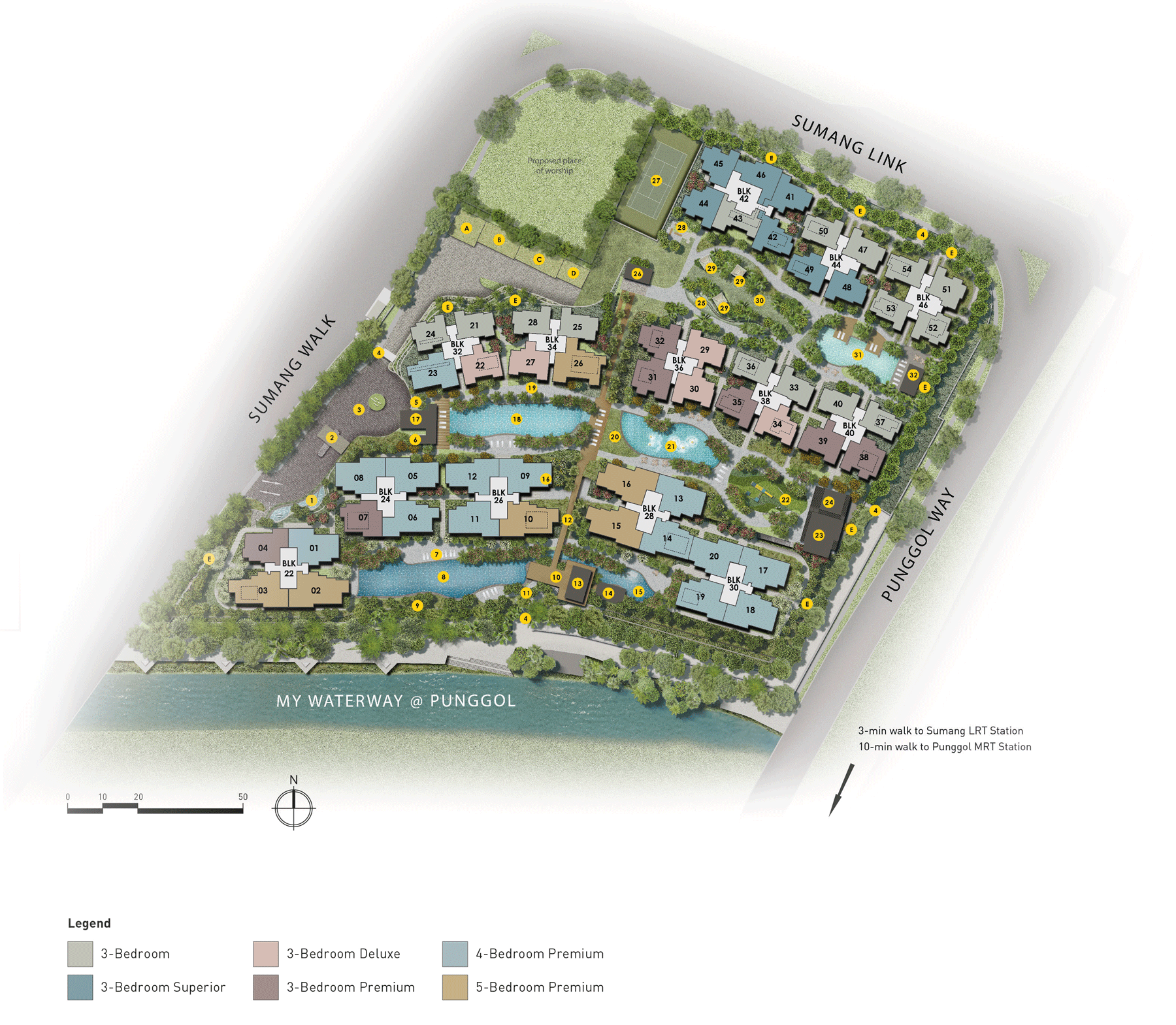 Site Map of Piermont Ground showing the 4 different zones within the development